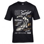 Premium 65 Year Old Surfer Beach Surfboard Motif For 65th Birthday gift men's Black t-shirt top